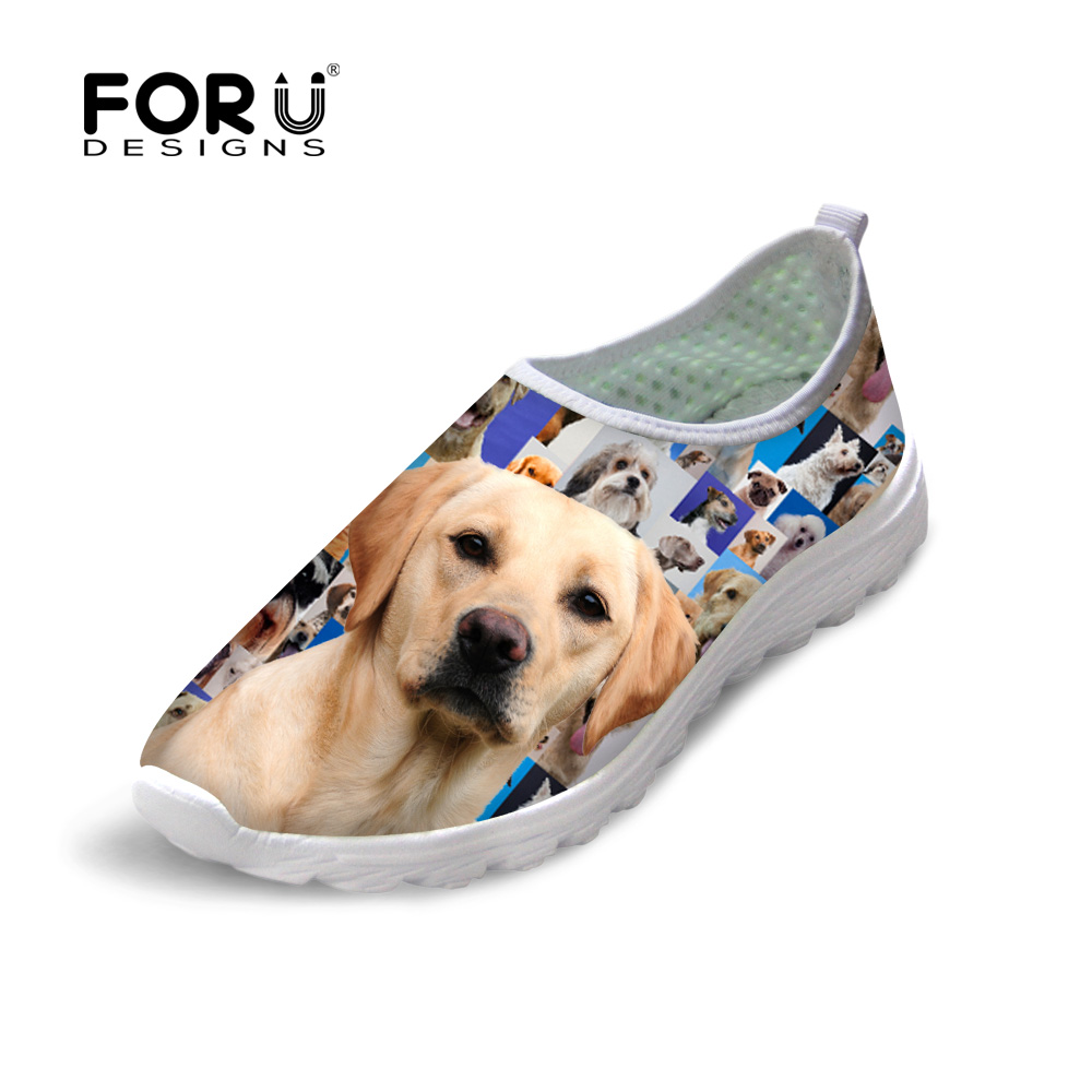 Hot Summer Breathable Outdoor Walking Mesh Womens Shoes Golden Rottweiler Pattern Shoes Casual Women Shoes 2016 Famous Brands image