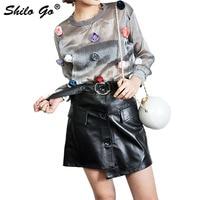 Leather Shirts Womens Spring Fashion sheepskin genuine leather skirts round metal belt single breasted asymmetrical