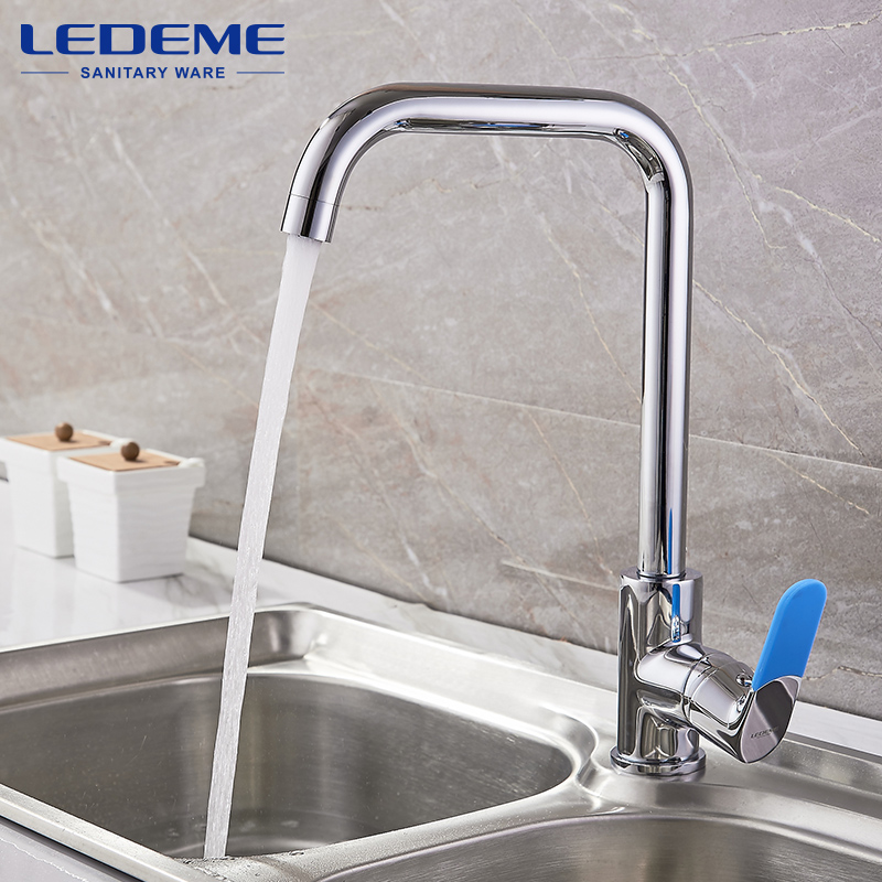 LEDEME Chrome Faucet For Finish Kitchen Sink Single Handle Polished Taps Brass Mounted Mixer Water Taps Basin Faucets L4053 xueqin two hole mixer tap modern kitchen bar single handle sink water faucet chrome polished rotable basin faucet taps hot sale
