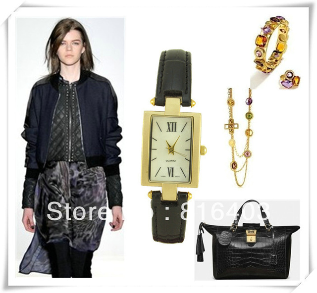 Free shipping vintage style fashionable jewelry Quartz Ladies dress watch black genuine leather band square plate