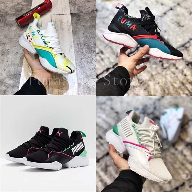 2018 PUMA X SHANTELL MARTIN Muse Maia Sneakers Graffiti Femmes Puma Chaussures Nouvelle Arrivée Entraînement Sportif Sneakers Fonctionne Badminton