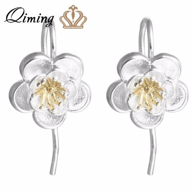 Qiming Sterling Silver 925 Earrings Elegant Wedding Jewelry Flower Dangle For Women Summer Boho