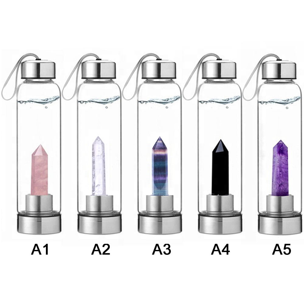 Natural Crystal Healing Obelisk Wand Quartz Crystal Water Bottle Water Bottle Degaussing Balance Body And Mind Water Bottle