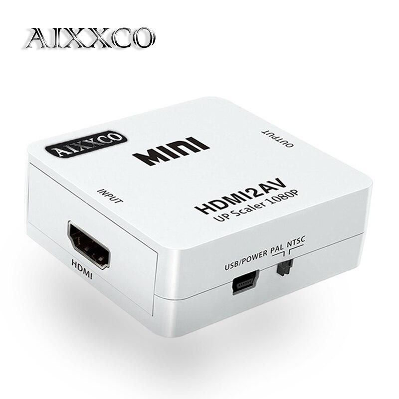 AIXXCO HD 1080 p HDMI a AV/RCA CVBS adaptador Mini HDMI2AV Video Convertidor para HDTV TV PS3 PC Video NTSC