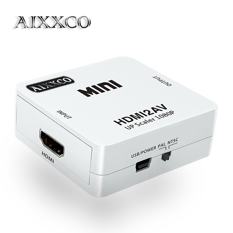 Aixxco HD 1080 p HDMI a AV/RCA cvbs adaptador mini HDMI2AV caja video del convertidor para HDTV TV PS3 ordenador PC vídeo NTSC