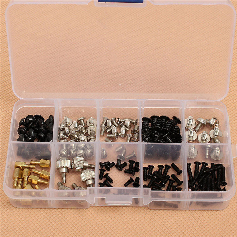MTGATHER 165pcs/Set Computer Screws Kit For Motherboard PC Case CD-ROM Hard Disk Notebook Application Top Quality e mu cd rom