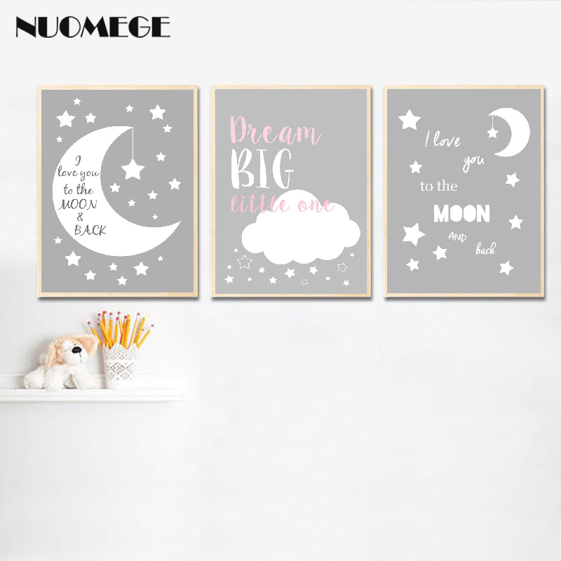 Nursery Wall Art Prints Moon Twinkle Canvas Painting Grey White Poster And Prints Nordic Kids Decoration Picture Baby Room Decor