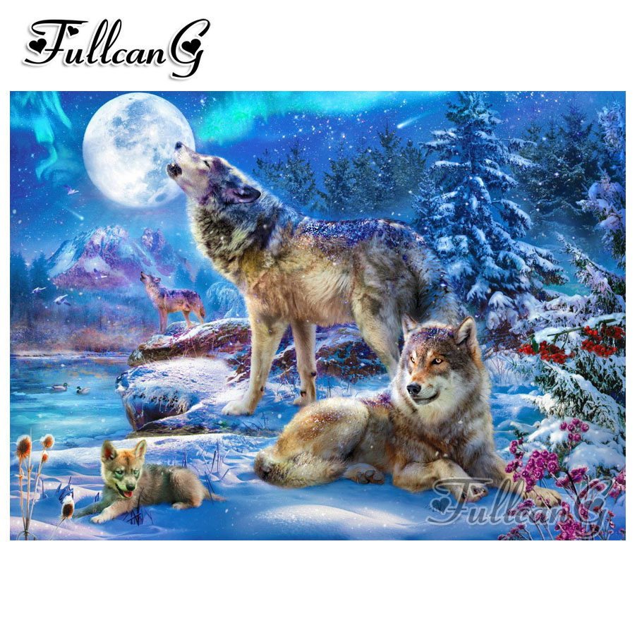 FULLCANG diy 5d diamond mazayka moon snow wolf dimond painting full square/round drill animals embroidery rhinestone kit FC989