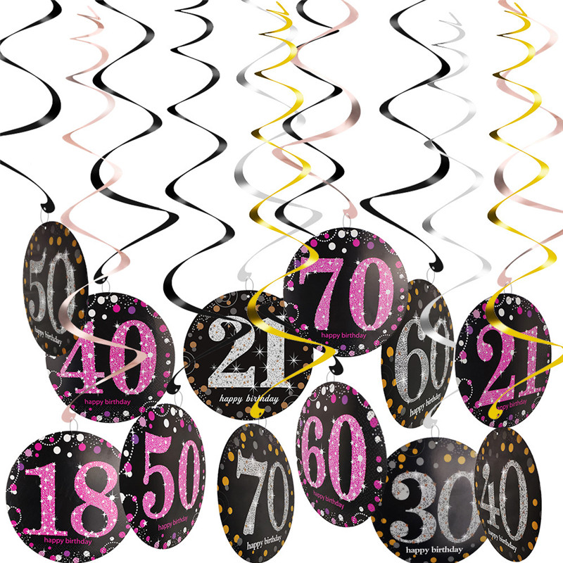 6Pcs 18/21/30/40/50/60/<font><b>70</b></font> Year Olds Spirals Party <font><b>Decorations</b></font> Party Balloons ,<font><b>Birthday</b></font> Party <font><b>Decorations</b></font> Adult image