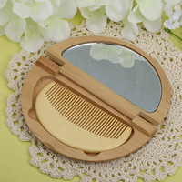 Professional Health Care Comb and Makeup Mirror Anti static Massage Wood Comb Handmade Beauty Mirror Hair Brush