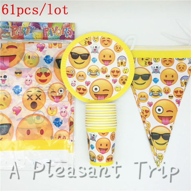 61pcs Lot Emoji Theme Happy Birthday Party Decoration Set For 20 People Smiling