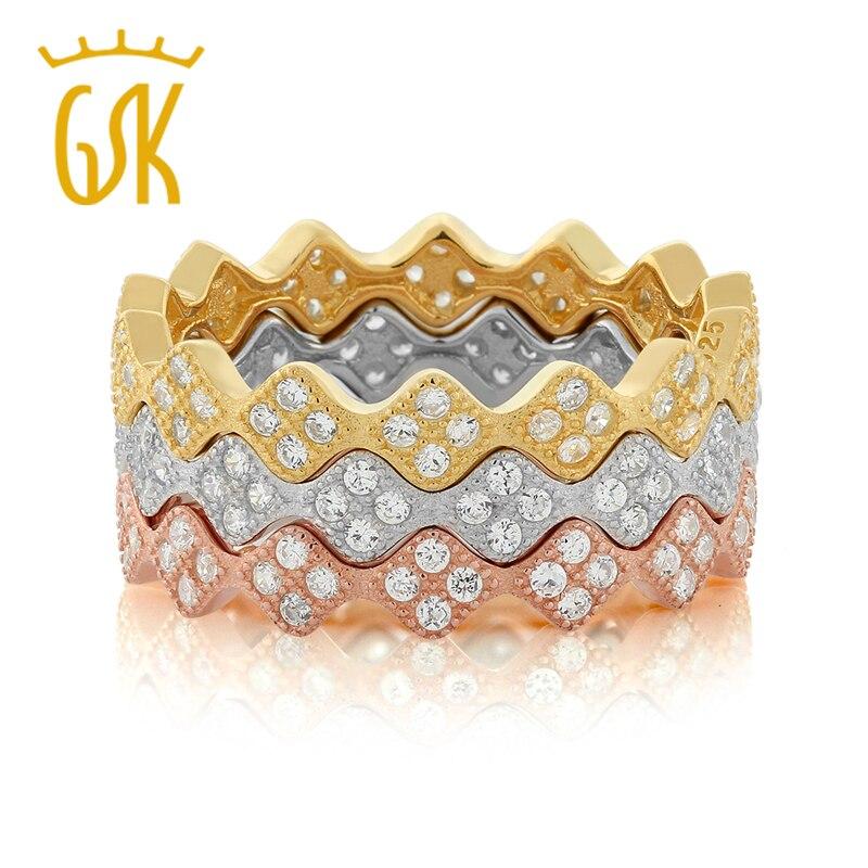 GemStoneKing מוצקה 925 טבעת כסף לנשים 3 צבע מדהים נצח טבעות Stackable להגדיר מתנת היום האם