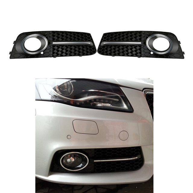 chrome glossy s line style fog light cover grills front grille for rh aliexpress com Audi RS4 Avant B8 A4 18 In