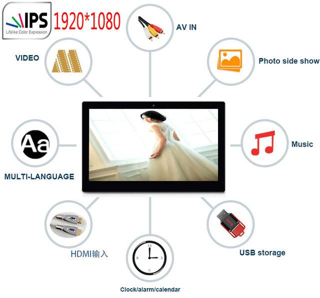 14 polegada IPS widescreen digital photo frame 1920*1080, slide show, música 1080 P reprodução de vídeo, HDMI em, AV in, controle remoto, VESA