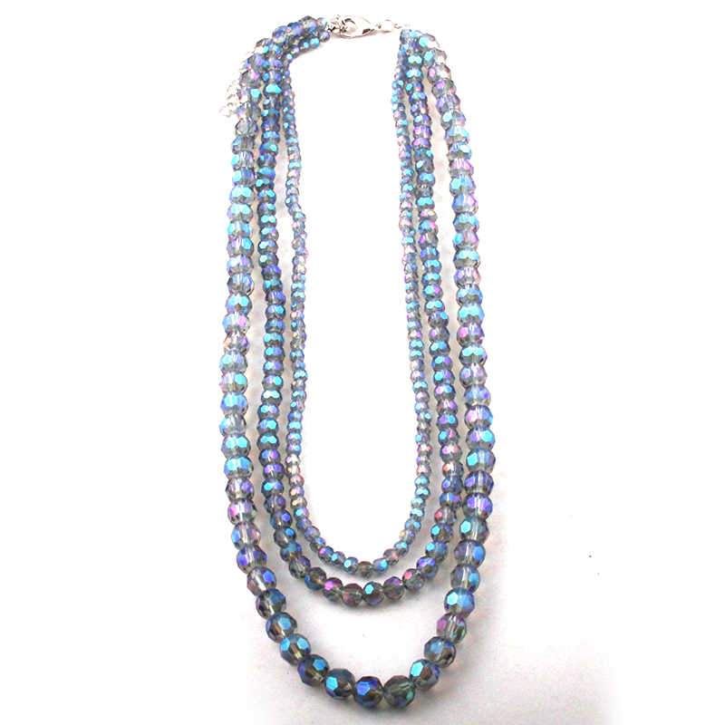 Fashion Bohemian Jewelry 3 layer Ball Glass Crystal Choker Necklaces For Women Ethnic Necklace