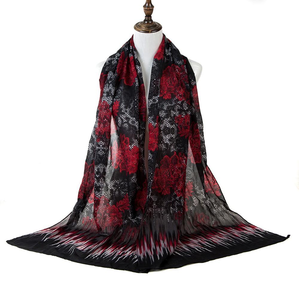Red Black Flowers Chiffon Scarf | Lightweight Scarves