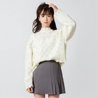 Harajuku Pullover Women Sweater 2016 Korean Sweaters Pull Spring New Openwork Lace White Knitted Sweater Women