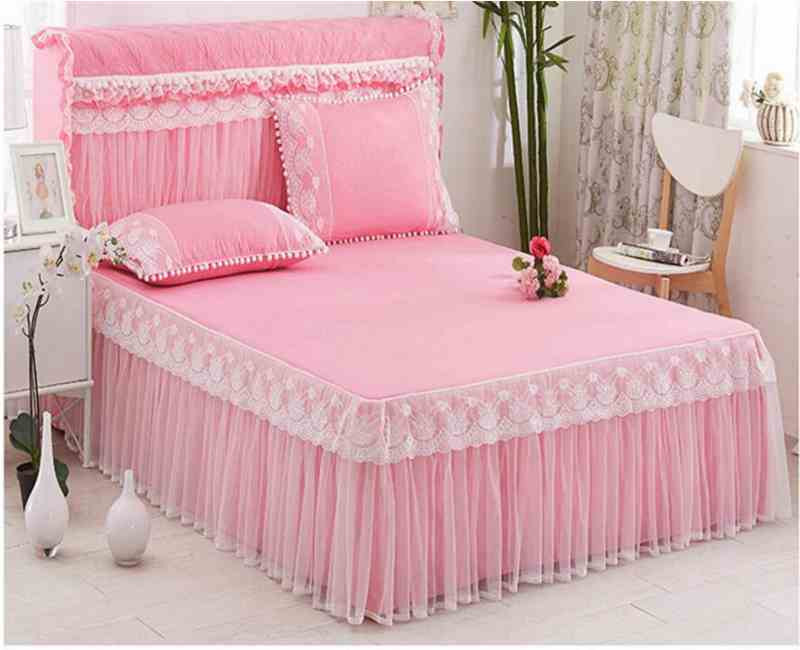 Elastic Bedspread Queen Size Dust Ruffle Bed Skirt Pillowcase Bedding Set New