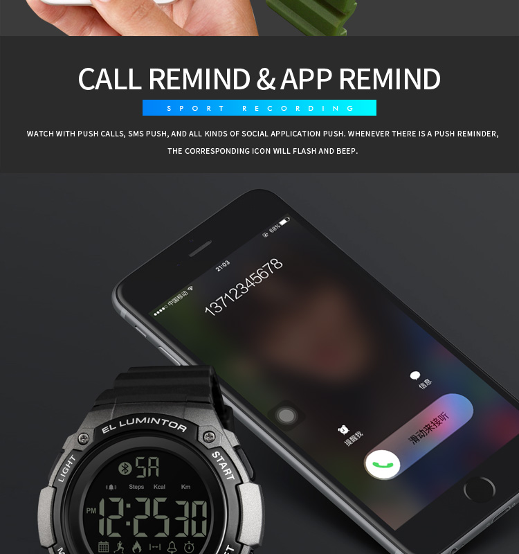SKMEI 2019 New Bluetooth Sport Smart Watch Men Waterproof Calories Pedometer digital SmartWatch For IOS Android (8)