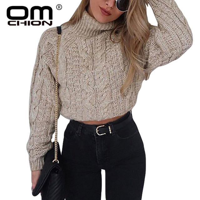 OMCHION Pull Femme 2018 Autumn Winter Turtleneck Crop Women Casual Solid  Twist Short Pullover Sexy Thick Jumper LMM112 85b3b5aa4