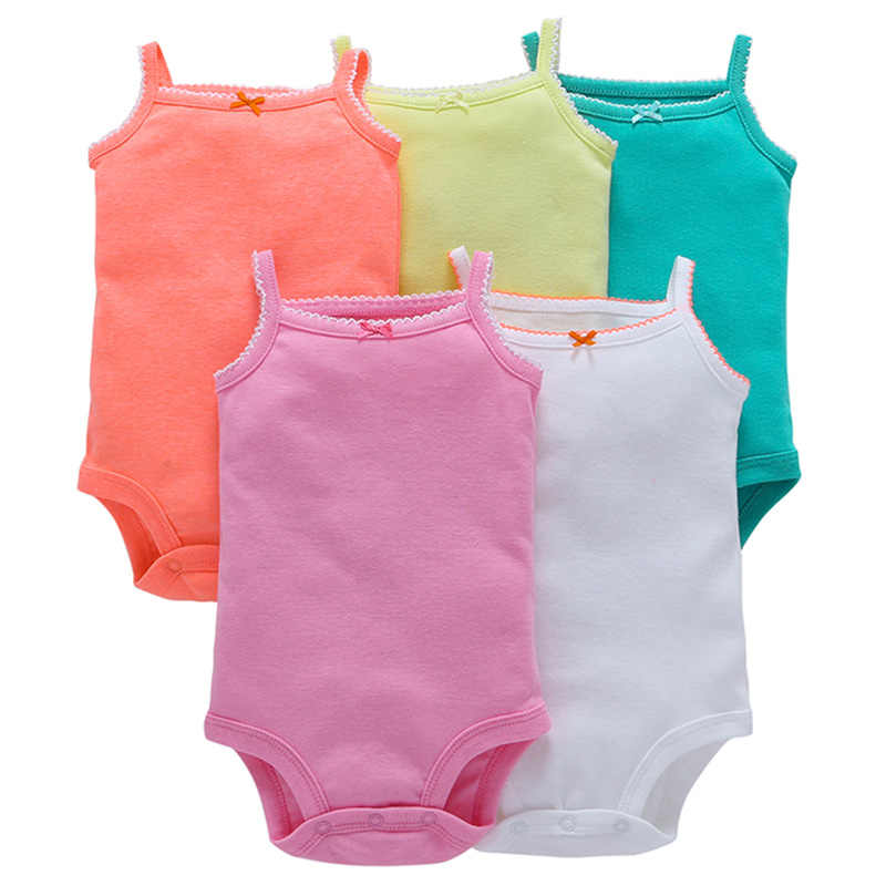5Pcs Solid Baby Girl Boy Clothing Sets Summer Newborn Vest Set Fashion Costumes Sling Infant Outfits Cotton Bebes Clothes Suit
