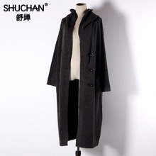 Shuchan Long Coat Knitted Wool Blend hooded Warm Sweater for Women  Korean Cardigans Thick Loose Winter 2019 New Items