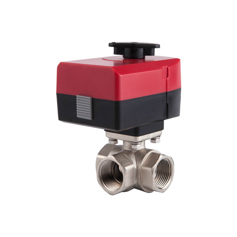 Electric Valve Brass Motorized Ball Valve Three Way Valve Can Be Manually And Automatically AC 220v 24v DN20 DN25 DN32 L Type