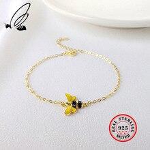 925 Sterling Silver Cute Little Bee Bracelets For Women Gold Cartoon Honeybee Chain Charm  Bracelet Fine Jewelry Girl