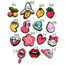 10pcs Colorful Acrylic Painted Fruit Berry Banana Strawberry Flower Lip Heart Cap Heart Charms Jewelry Findings Fit DIY