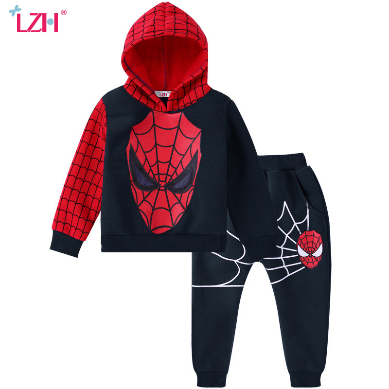 LZH Children Clothing 2017 Autumn Winter Boys Clothes Spiderman Hoodies+Pants 2pcs Outfit Christmas Costume Kids Boys Sport Suit