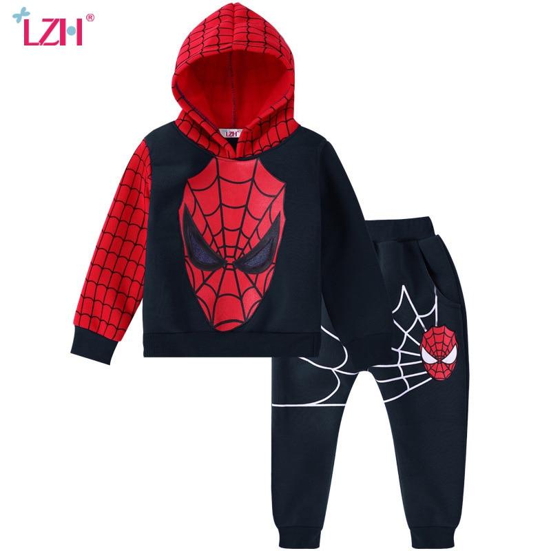 LZH Children Clothing 2017 Autumn Winter Boys Clothes Spiderman Hoodies+Pants 2pcs Outfit Christmas Costume Kids Boys Sport Suit