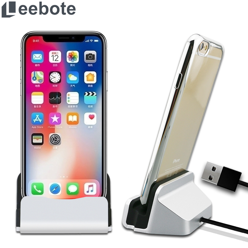 ea98dbcaaac Leebote Sync datos cargador USB estación de base Cable de carga X 8 para  iPhone 7 Plus 6 S enchufe cargador de acoplamiento USB 5 SE 5S
