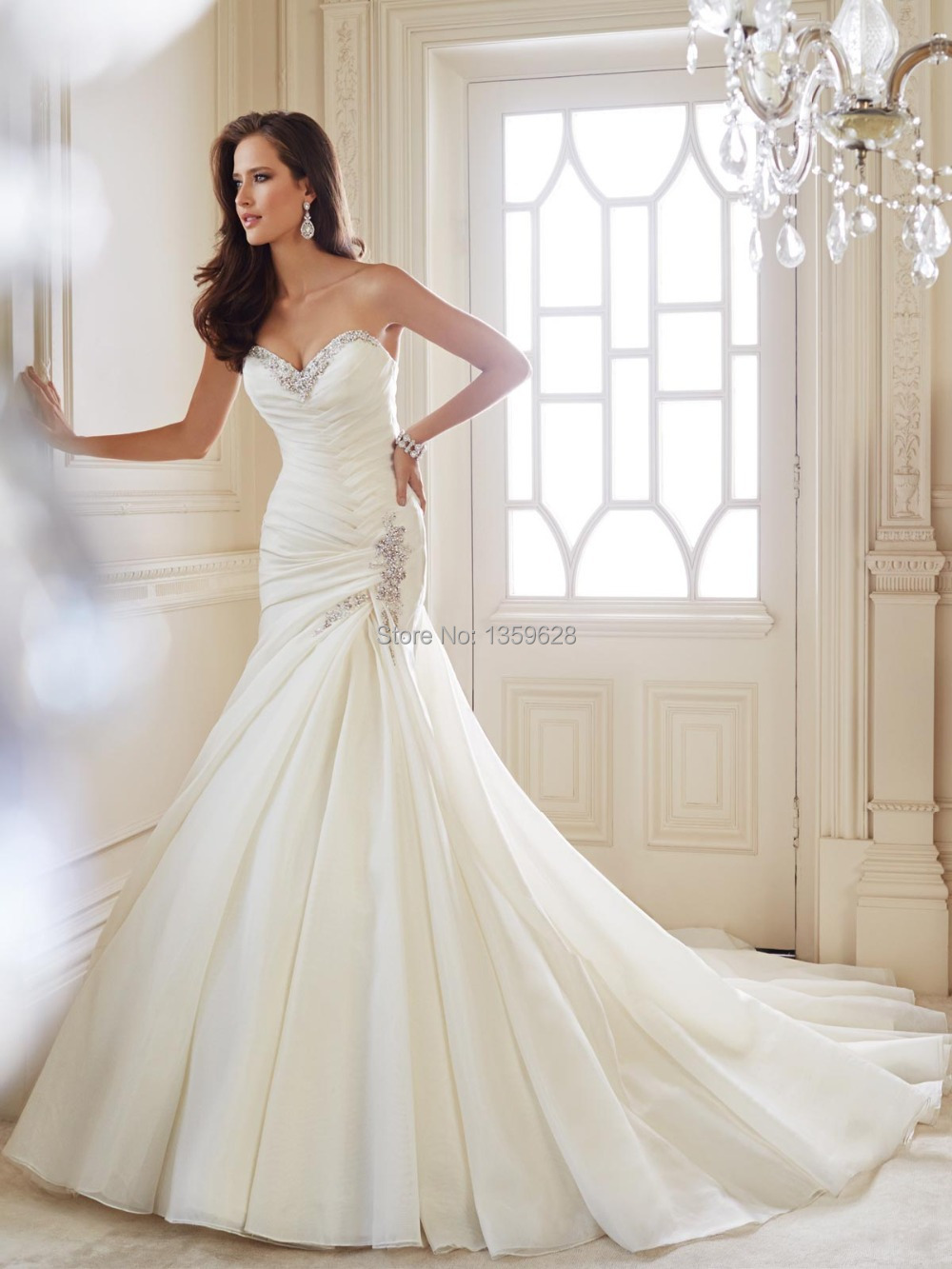 Vintage Mermaid Wedding Dress 2017 Stunning Delicate Sweetheart Ruched Elongated Bodice Traditional Organza Wd 157 In Dresses From