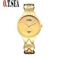 Luxury Gold Plated Bracelet Watches Women Ladies Dress Quartz Wristwatches Relogios Feminino O T SEA Brand