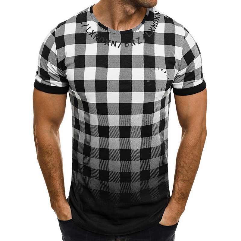 HEFLASHOR Mens verão xadrez patchwork camiseta de manga curta Gradiente de cor Muscular Hip Hop tee moda camisa Básica Novo 2019