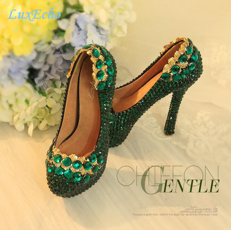 ФОТО New arrival Luxury Green Rhinestone wedding Party shoes High shoes woman Fashion Pumps big size 34-43 Performance Pumps