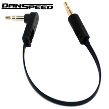 DANSPEED 3.5mm Male 3-Pole to Male Angle Earphone Stereo Headphone Audio Cable Adapter Converter Cable 15cm
