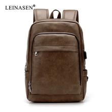 цена на New PU Leather Backpack Luxury Messenger Laptop Large Capacity Softback Brand Business Men Bag Office Men Casual Backpack