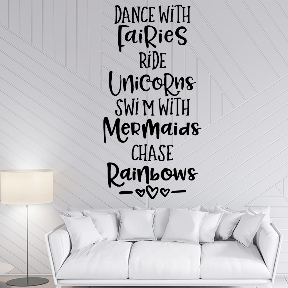 Cartoon  English Sentences Decorative Sticker Waterproof Home Decor Living Room Bedroom Pvc Wall Decals