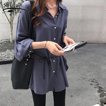 1bb2194a5b81ad2 Модные осенние женские блузки 2018 Большие размеры женские рубашки средней  длины женская одежда с длинными рукавами однотонная блузка 1680 50