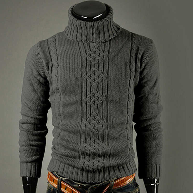 새로운 패션 브랜드 슬림 남성 니트 옷깃 긴 소매 터틀넥 터틀넥 솔리드 컬러 남성용 일반 스웨터 겨울 하이 넥