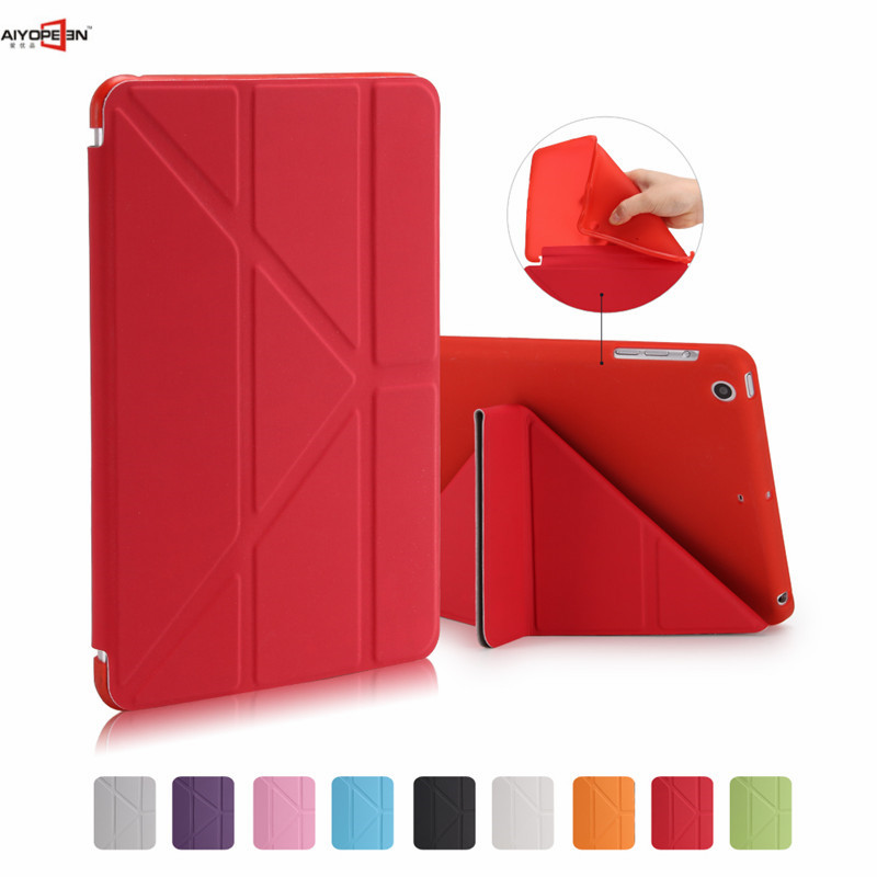 for ipad mini 1/2/3 case aiyopeen magnetic filp stand tpu back cover soft protect with Multi-fold pu leather smart wake up sleep ctrinews for apple ipad air 1 smart cover case magnetic wake up sleep multi fold pu leather cover for ipad 5 soft tpu back case