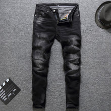 Italian Vintage Designer Men Jeans Slim Fit Elastic Patch Black Ripped Streetwear Hip Hop Denim Pants Classical