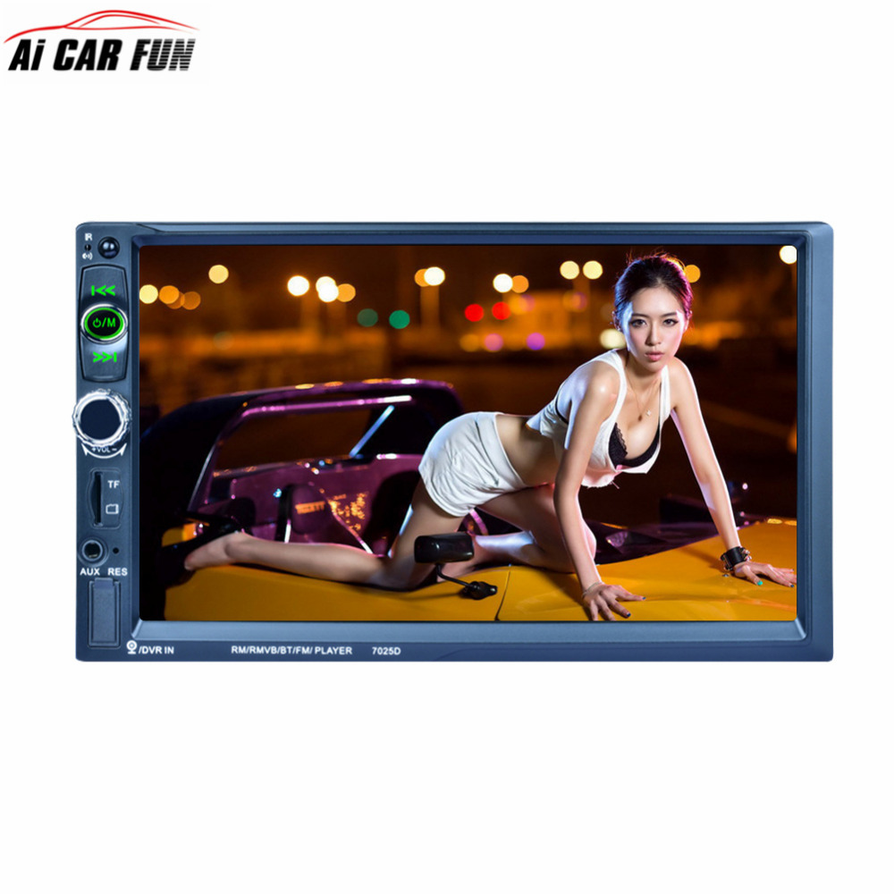 7025D 2Din Car Radio 7inch Bluetooth 1024*600 Touch Screen Car Stereo MP5 Player FM Radio Mirror Link SD TF USB Car electronics steering wheel control car radio mp5 player fm usb tf 1 din remote control 12v stereo 7 inch car radio aux touch screen
