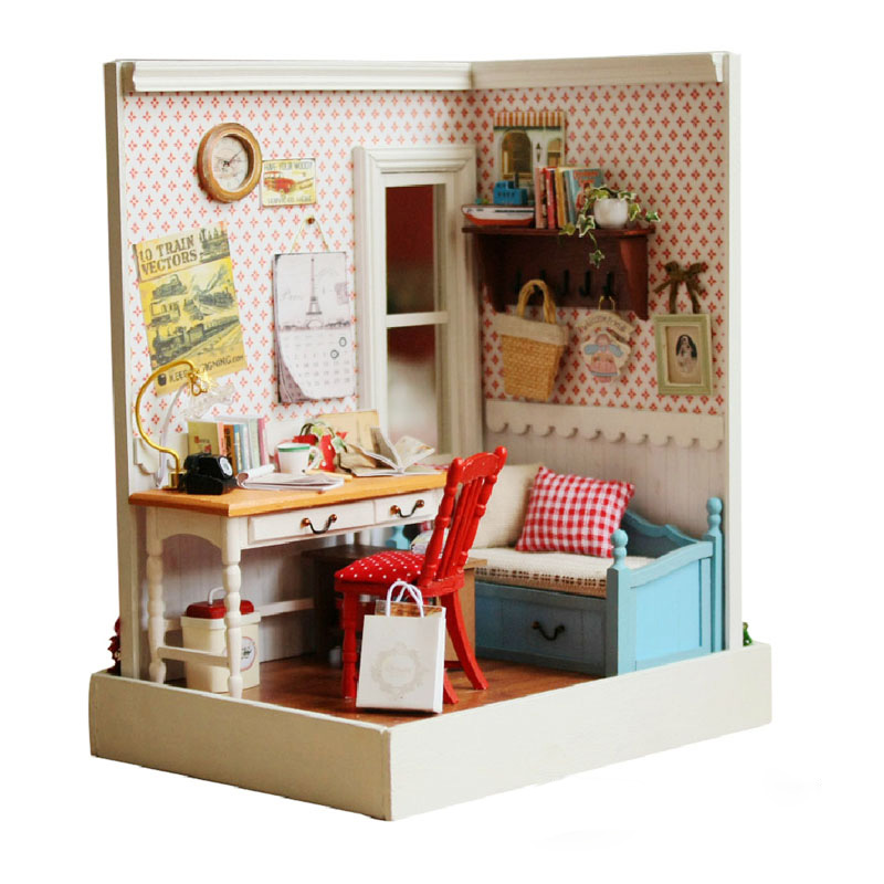 New Arrival Cuteroom DIY Wooden Miniatura Dollhouse Warm Memory Handmade Decorations Model with LED Light and