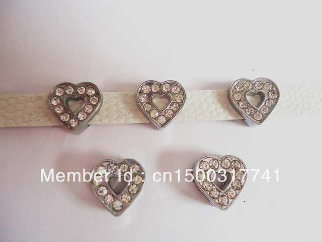 10pcs 8mm Full Rhinestone Heart Slide Charms Fit Pet Dog Cat Tag Collar Wristband