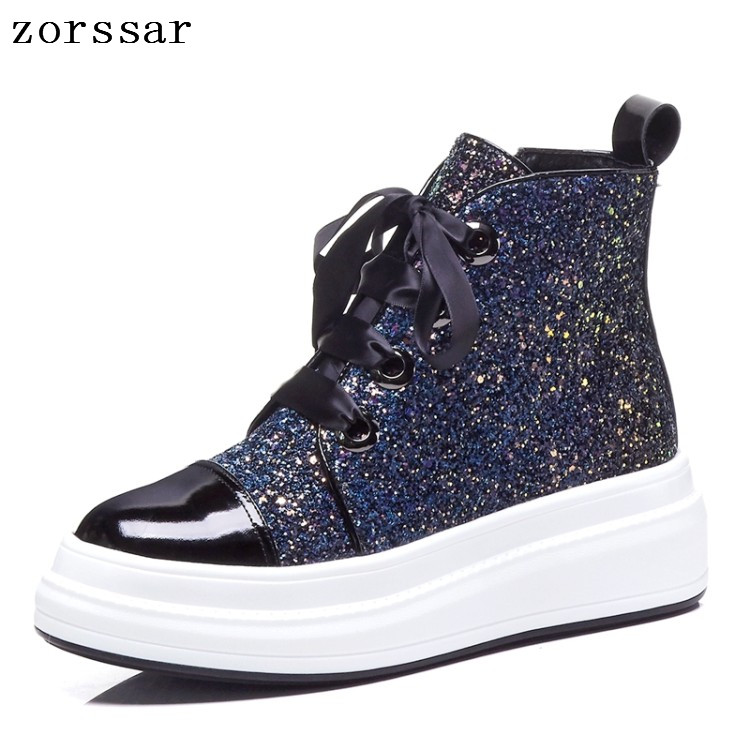 {Zorssar} Fashion sneakers women shoes Ankle Boots Genuine Leather Lace-up Platform Booties Ladies flat boots winter woman shoes doratasia flowers embroidery women shoes sneakers lace up fashion flat platform ladies shoes woman high quality
