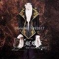 Hombres negro de encaje de oro bordado de lujo período medieval traje de la vendimia traje de chaqueta con pantalones