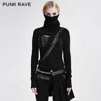Панк рейв гот черный Для женщин Топ Мода викторианской Кера футболка Visual Kei T436