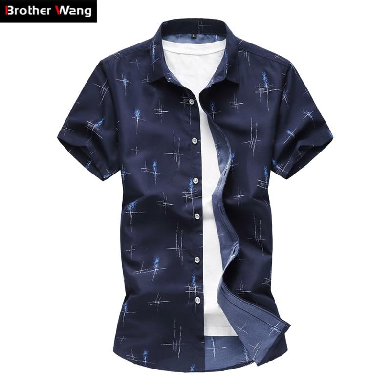 2019 Summer New Men's Casual Shirt Fashion Print Slim Short Sleeve Shirt Hawaiian Shirt Brand Clothing Plus Size 5XL 6XL 7XL
